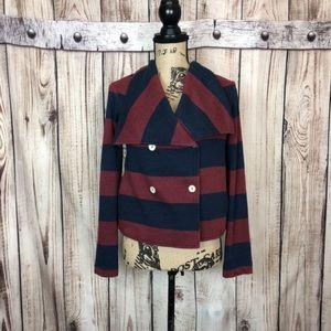 Anthro Splendid Maroon Striped Sweater Blazer M